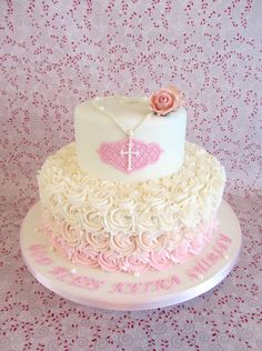 Beautiful Christening / Baptism Cake- first communion? Comunion Cakes, Decoration Communion, Confirmation Cakes, Baptism Cakes, First Holy Communion Cake, Religious Cakes, Cupcake Cakes, Cupcakes, Baby Girl Baptism