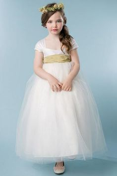 9d494334646 Ball-Gown Square Neckline Ivory Flower Girl Dress with Bow(s)
