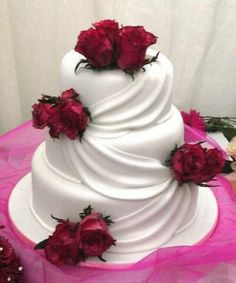 Simple Rose Wedding Cake