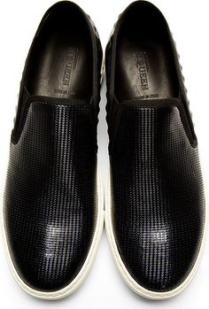 Alexander Mcqueen: Black Textured Leather Slip-On Shoes