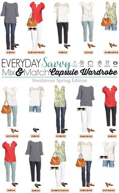 Check out this Nordstrom spring capsule wardrobe with on-trend casual outfits at great price points. Bell sleeves, fringe and baby boot cut jeans. Source by cruzermama casual outfits Capsule Wardrobe Mom, Mom Wardrobe, Nordstrom Jeans, Mix Match Outfits, Matching Outfits, Casual Outfits, Cute Outfits, Girly Outfits, Fashion Outfits