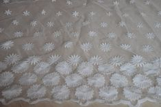 White Organza Lace Fabric With Embroidered Floral by whtstore