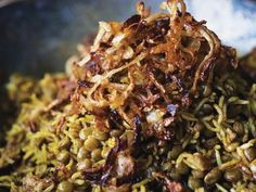 Mejadra ~  traditional Arab comfort food of rice, lentils & onions. Here, the rice & lentils are steamed together with a plethora of spices, pilaf style, before adding pièce de résistance--a smattering of freshly fried onions. You'll reserve some fried onions for topping off your bowl.