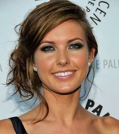 Audrina's Sexy Side Pinned Updo, Side Part and Perfectly Placed Strands, Long Straight Hair.