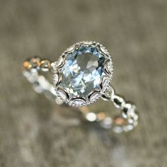 Floral Aquamarine Engagement Ring in 14k White Gold Pebble Diamond Wedding Band 9x7mm Oval Aquamarine Ring (Bridal Wedding Set Available)