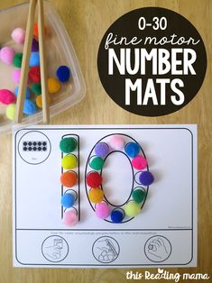 Fine Motor Number Mats - This Reading Mama Numbers Preschool, Learning Numbers, Math Numbers, Free Preschool, Preschool Printables, Number Writing Practice, Decomposing Numbers, Fine Motor Activities For Kids, Motor Skills Activities