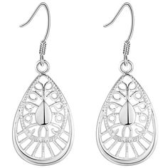 Cheap earrings for, Buy Quality dropping earrings for women directly from China drop earrings Suppliers: Fashion Silver Color Teardrop Drop Earrings for Women Peacock Feather Design Filigree Silver Plated Ladies Earrings Jewelry 2017 Silver Filigree, Silver Plate, Washer Necklace, Pendant Necklace, Feather Design, Silver Color, Women's Earrings, Jewelry Accessories, Peacock