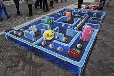 Artista desenha Pac Man em 3D em rua da Holanda