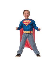 Dc Comics Superman Boys Muscle Costume Shirt @ niftywarehouse.com #NiftyWarehouse #Superman #DC #Comics #ComicBooks