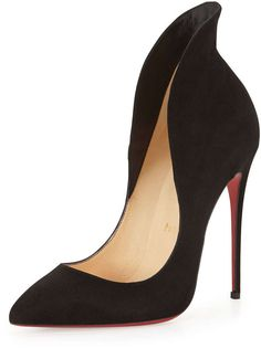 Christian Louboutin Mea Culpa Flared Suede Red Sole Pump, Black - ShopStyle