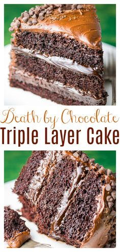 Death by Chocolate Cake - Baker by Nature Death By Chocolate Cake, Amazing Chocolate Cake Recipe, Decadent Chocolate Cake, Best Chocolate Cake, Homemade Chocolate, Chocolate Lovers, Chocolate Desserts, Triple Layer Chocolate Cake, Chocolate Frosting