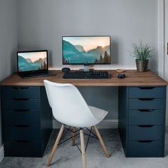 Dazzling elegant home office Home Office Setup, Home Office Space, Home Office Desks, Office Desk With Hutch, Home Office Table, Ikea Office, Office Ideas, Workspace Inspiration, Design Inspiration