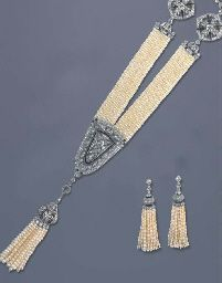 ART DECO PEARL AND DIAMOND SAUTOIR, TWO BRACELETS AND A PAIR OF EARRINGS