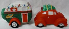 Vintage Christmas Tree Car & Snowbird Camper/Trailer Salt & Pepper Set - 2004