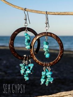 Sea Gypsy Dreamcatcher Turquoise Chip Coconut by UnderTheTreeShop