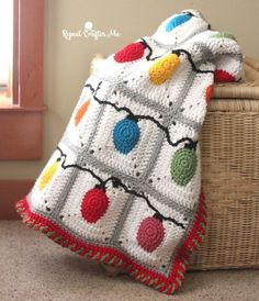 Crochet Christmas Lights Blanket - Repeat Crafter Me