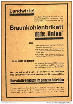 Original-Werbung/ Anzeige 1931 - 1/1-SEITE -  BRAUNKOHLENBRIKETT UNION  ca. 160 x 220 mm