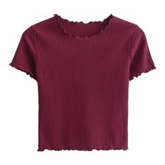 Cropped Flounced T-Shirt (266.665 IDR) ❤ liked on Polyvore featuring tops, t-shirts, purple crop top, cut-out crop tops, frill top, purple top and purple t shirt