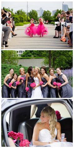 a Chicago city wedding ceremony - hot pink and gray! featured on theexcitedbride.com
