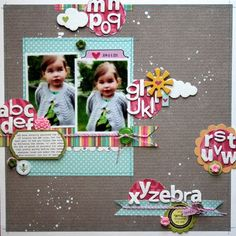 XYZebra layout from Melanie Blackburn (via Jillibean Soup blog and Maya Road product trade).  Love all the letters!