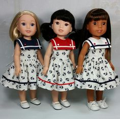 Salute to the Red, White and Blue! Visit my Etsy store DollClothesbyShirley American Girl Crafts, American Girl Clothes, Girl Doll Clothes, Doll Clothes Patterns, Girl Dolls, Ag Dolls, Doll Patterns, American Girl Hairstyles, Patriotic Dresses