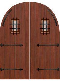 Plank Round Top Cherry, Alder & Walnut Double Door with Speakeasy & Iron Straps • 8´ 0˝
