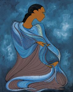 """Maxine Noel: Water-The Giver Of Life.  """"Maxine was born in the Canadian province of Manitoba of Santee Oglala Sioux parents. She spent her early childhood on her mother's reserve but at the age of six she left to attend an Indian residential school. Maxine's early career as a legal secretary was soon overshadowed by her preoccupation with painting and drawing. Maxine Noel signs her artwork with her Sioux name IOYAN MANI, which translates as 'Walk Beyond'."""""""