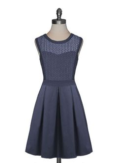 Navy Box Pleat Dress