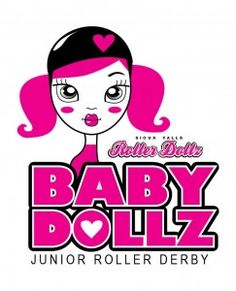 Baby Dollz Logo. Clearly marketing to a certain age group of women with color, this complex logo is cutesy, but still strong. The young girl's face is looking (over her shoulder?) directly at the viewer, with an all-too-sweet expression that personifies the attitude that some roller derby participants might have just before they knock you on your ass.