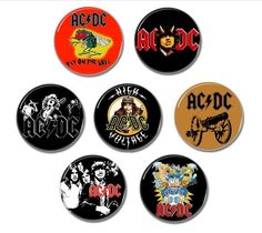 7 x AC/DC badges, buttons, pins!    #acdc #angusyoung #buttons #badges #pins #pinbacks #rocknroll #highwaytohell #backinblack