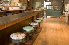 "Look at those counter stools!! From a bakery called ""Lovely."""
