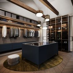 Dramatic Interior With Luxury Closets & Bathrooms Rich jewel tone decor and sumptuous furnishings fill this modern home interior. Also find high-end walk in closet ideas and luxury bathroom design. Closet Walk-in, Dressing Room Closet, Dressing Room Design, Closet Ideas, Master Bedroom Closet, Bathroom Closet, Bathroom Fixtures, Bathroom Faucets, Walk In Closet Design