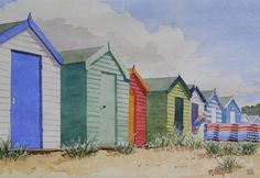 Southwold Beach Huts by Geoffrey Sainsbury  Copyright remains with the artist  #geoffreysainsbury