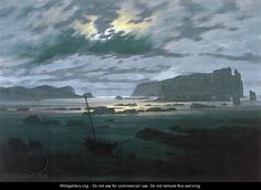 The North Sea in Moonlight by Caspar David Friedrich. Friedrich was a German Romantic painter who lived from 1774-1840.