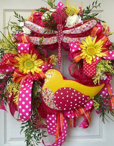 Summer Wreath Bright Mesh Wreath Wreath Mesh by WilliamsFloral