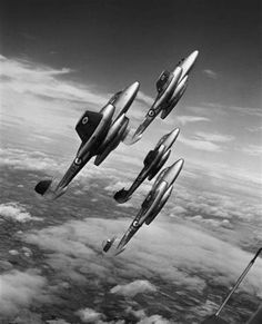 ascending British jet fighters Gloster Meteors