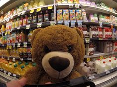 Travel Teddy going shopping for groceries.