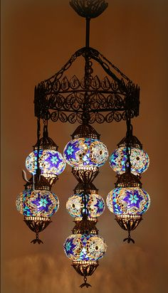 *Image Only* - Add some chic lighting to your home decor with this Turkish mosaic chandelier Turkish Lights, Turkish Lamps, Turkish Lanterns, Chandeliers, Glass Chandelier, Lantern Lamp, Lighting Manufacturers, Mosaic Designs, Hanging Lights