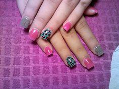 Color fushia nails, leopard aqua black fushia, silver Uñas color fushia, leopardo aqua negro fushia, plateado