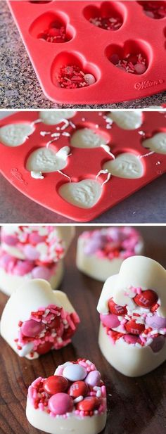 Valentine's Day White Chocolate Bark Bites Valentine's Day White Chocolate Bark Bites Valentine Desserts, Valentines Day Chocolates, Valentine Cake, Valentines Day Treats, Holiday Treats, Valentines Cakes And Cupcakes, White Chocolate Bark, Chocolate Diy, Valentine Chocolate