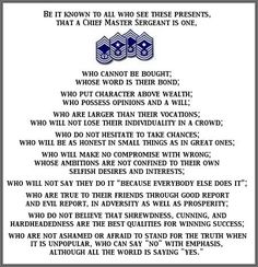 The USAF Chief's Creed. I learned a lot about values and walking the walk during my career. The Chief's Creed resonates with me. D Unit, Emergency Medical Technician, Master Sergeant, Family Practice, Critical Care, Military Life, Air Force, Retirement Ideas, Wiccan