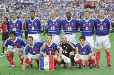 The France team prior to the 1998 World Cup final with Brazil, which they won 3-0. (From top left: Zinedine Zidane, Marcel Desailly, Frank Leboeuf, Lilian Thuram, Stephane Guivarc'h, Emmanuel Petit; bottom left, Christian Karembeu, Youri Djorkaeff, Didier Deschamps, Fabien Barthez, Bixente Lizarazu)