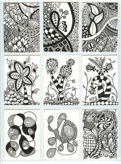 Zentangle ATCs Nine of eighteen Zentangle ATCs ready to be sent out for a mid-November ATC swap by becky Zentangle Drawings, Doodles Zentangles, Doodle Drawings, Tangle Doodle, Zen Doodle, Doodle Art, Zantangle Art, Zen Art, Tatoo Henna