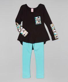 Look at this #zulilyfind! Black Sequin Sleeve Tunic & Leggings - Girls by Maya Fashion #zulilyfinds