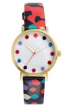 kate spade new york 'metro - dancing floral dot' watch,