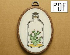 Cactus in a Bottle Hand Embroidery Pattern (PDF modern embroidery pattern)