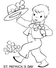 St Patricks Day Coloring Pages - Young boy in Irish outfit