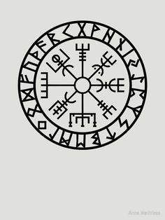 Vegvisir Futhark Runes Navigator Vikings Slim Fit TShirt is part of Traditional Thigh tattoos Sugar Skull - Slim Fit TShirt Viking Tattoo Meaning, Viking Compass Tattoo, Viking Tattoo Symbol, Runic Compass, Norse Tattoo, Viking Tattoos, Inca Tattoo, Odin Symbol, Ancient Tattoo