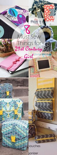 8 must sew things for 21st century girls. Such a GREAT list of things to sew for YOUNG girls. I'm IN LOVE. So helpful. Contains links to tutorials for iPad pillows, organizers, camera bags and a lot o (Diy Tech Projects)