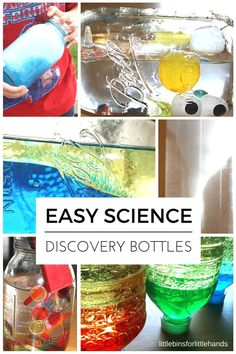 Science discovery bottles for kids that explore the ocean, density, magnetism, tornados, bubbles, and more science ideas.